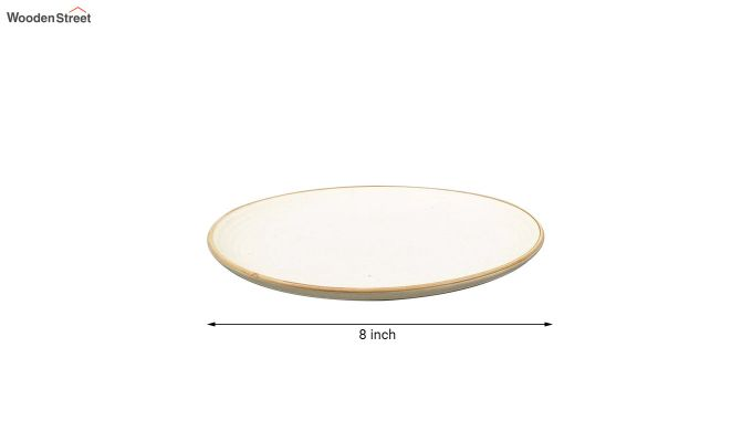 Ceramic Handcrafted Cream Dinner Plates - Set of 4-5