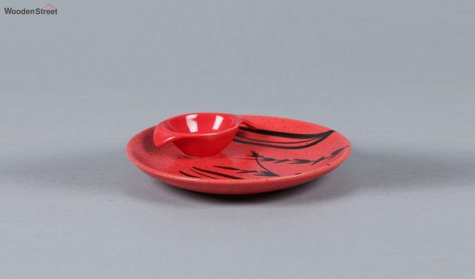 Ceramic Handcrafted Red Platter-3