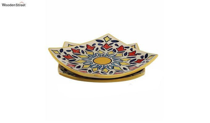 Ceramic Yellow Square Serving Plates - Set of 2-4