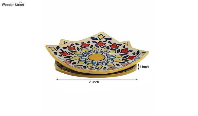 Ceramic Yellow Square Serving Plates - Set of 2-6