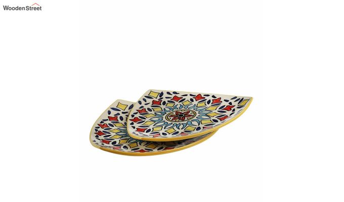 Ceramic Yellow Triangle Breakfast Plates - Set of 2-2