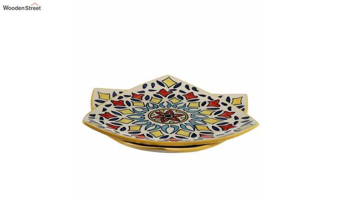 Ceramic Yellow Triangle Breakfast Plates - Set of 2-3