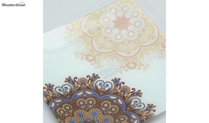 Beige Embroidery Glass 6 Serving Plates & 1 Platter - Set of 7-3