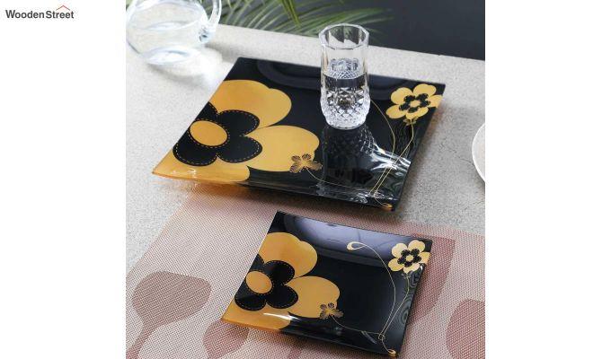 Black Flower Print Glass 6 Serving Plates & 1 Platter - Set of 7-1