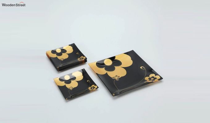 Black Flower Print Glass 6 Serving Plates & 1 Platter - Set of 7-2