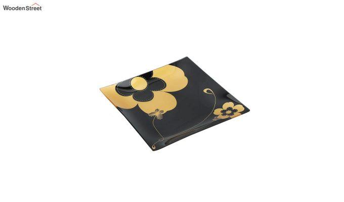 Black Flower Print Glass 6 Serving Plates & 1 Platter - Set of 7-3