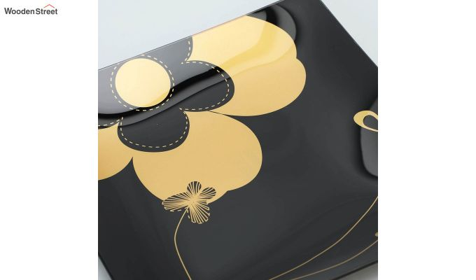 Black Flower Print Glass 6 Serving Plates & 1 Platter - Set of 7-4