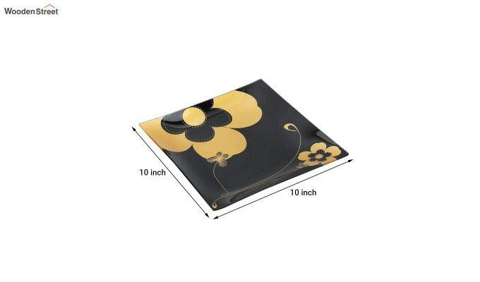 Black Flower Print Glass 6 Serving Plates & 1 Platter - Set of 7-5