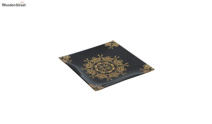 Black Glass 6 Serving Plates & 1 Platter - Set of 7-3