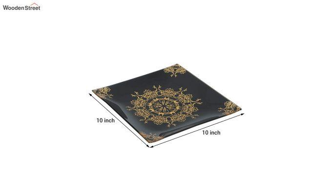 Black Glass 6 Serving Plates & 1 Platter - Set of 7-5