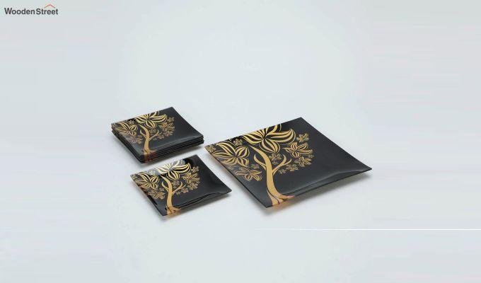 Black Tree Print Glass 6 Serving Plates & 1 Platter - Set of 7-2