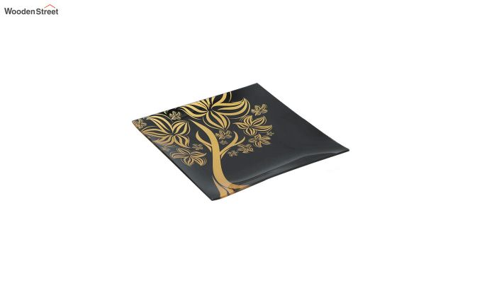 Black Tree Print Glass 6 Serving Plates & 1 Platter - Set of 7-3
