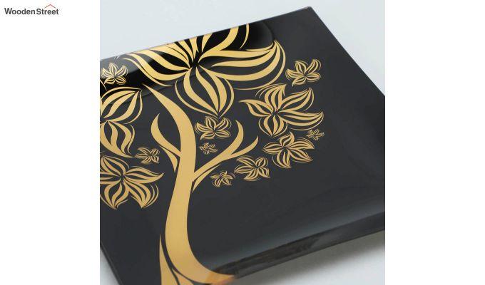 Black Tree Print Glass 6 Serving Plates & 1 Platter - Set of 7-4