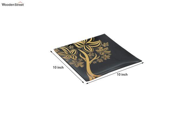 Black Tree Print Glass 6 Serving Plates & 1 Platter - Set of 7-5