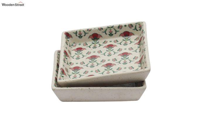 Ceramic Multicolour Square Platters - Set of 2-3