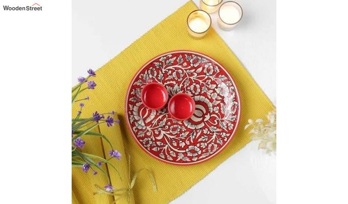 Ceramic Red Platter with Bowls - 3 Piece Set-2
