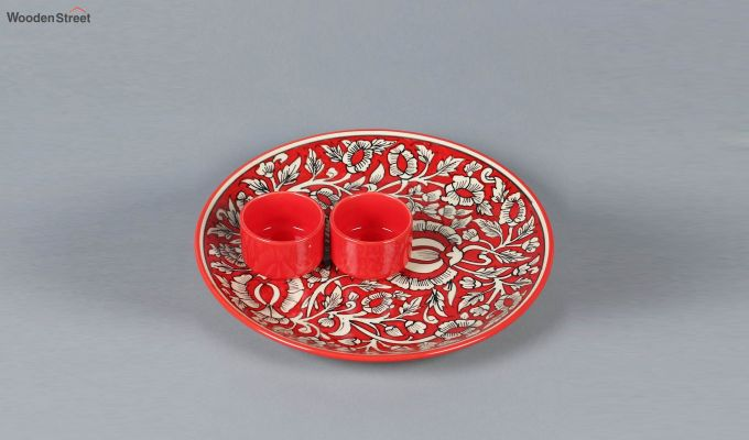 Ceramic Red Platter with Bowls - 3 Piece Set-3