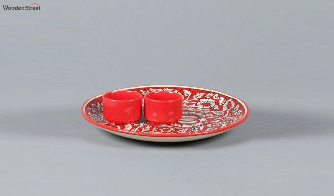 Ceramic Red Platter with Bowls - 3 Piece Set-4