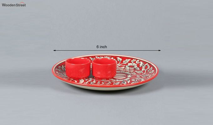Ceramic Red Platter with Bowls - 3 Piece Set-1