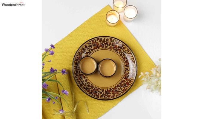 Ceramic Yellow Platter with Bowls - 3 Piece Set-1