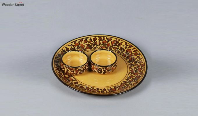 Ceramic Yellow Platter with Bowls - 3 Piece Set-2