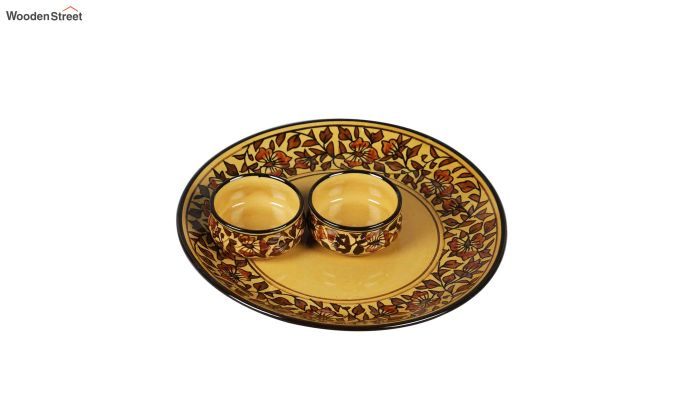 Ceramic Yellow Platter with Bowls - 3 Piece Set-3