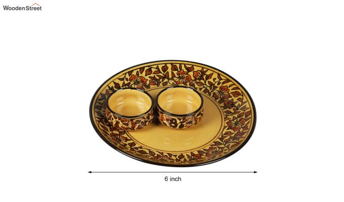 Ceramic Yellow Platter with Bowls - 3 Piece Set-4