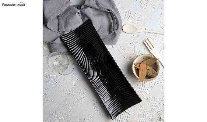 Stoneware Black Rectangle Platters - Set of 2-1