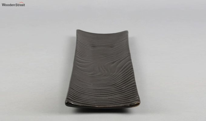 Stoneware Black Rectangle Platters - Set of 2-4