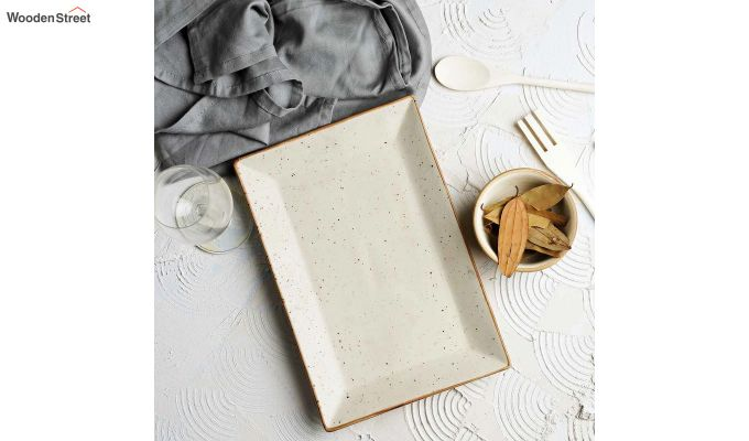 Stoneware Cream Rectangle Platter-1