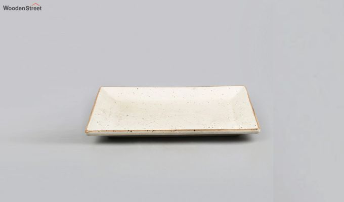 Stoneware Cream Rectangle Platter-2
