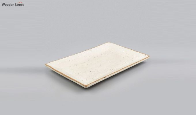 Stoneware Cream Rectangle Platter-3