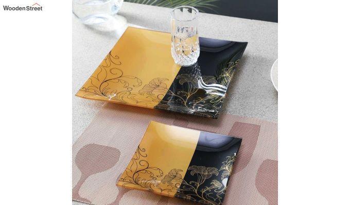 Transparent Tree Print Glass 6 Serving Plates & 1 Platter - Set of 7-1