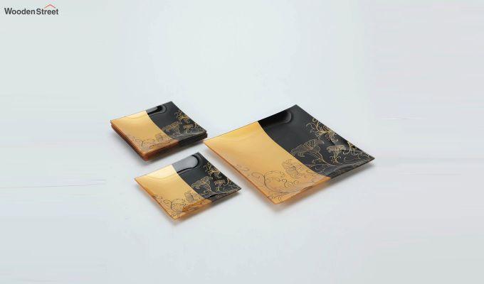 Transparent Tree Print Glass 6 Serving Plates & 1 Platter - Set of 7-2