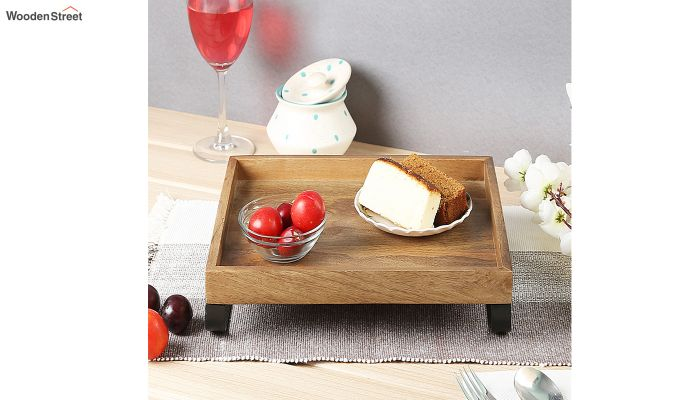 Mango Wood Medium Serving Tray with Bottom Metal Handle-1