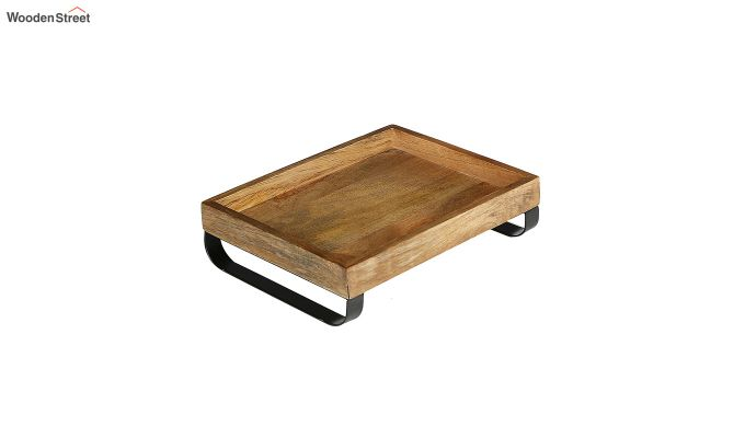Mango Wood Medium Serving Tray with Bottom Metal Handle-2