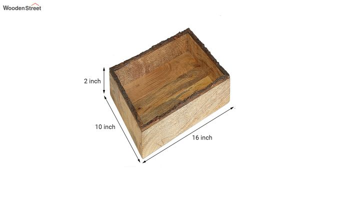 Mango Wood Rough Edge Border Large Serving Tray-5