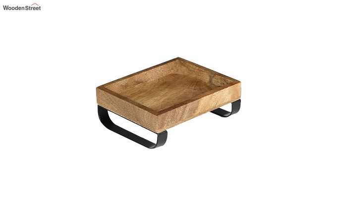 Mango Wood Small Serving Tray with Bottom Metal Handle-2