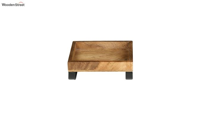 Mango Wood Small Serving Tray with Bottom Metal Handle-3