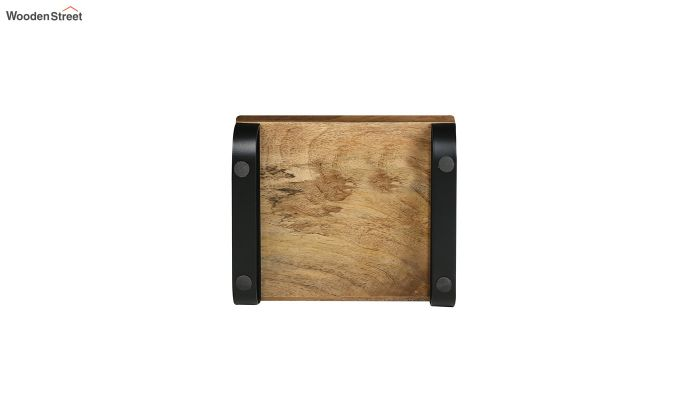 Mango Wood Small Serving Tray with Bottom Metal Handle-4
