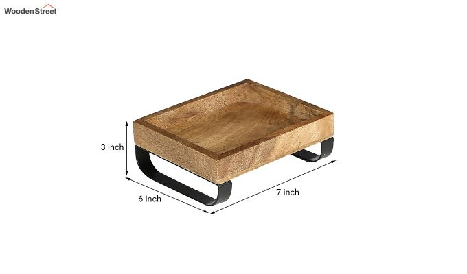 Mango Wood Small Serving Tray with Bottom Metal Handle-6