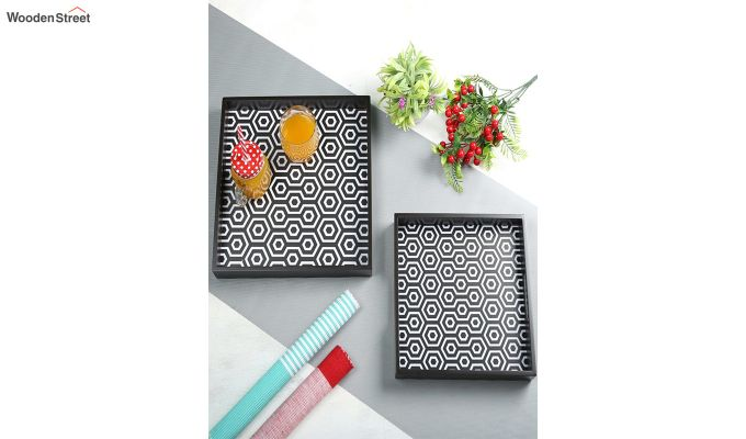 MDF Black & White Square Serving Tray - Set of 2-1