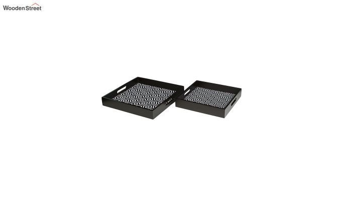 MDF Black & White Square Serving Tray - Set of 2-3