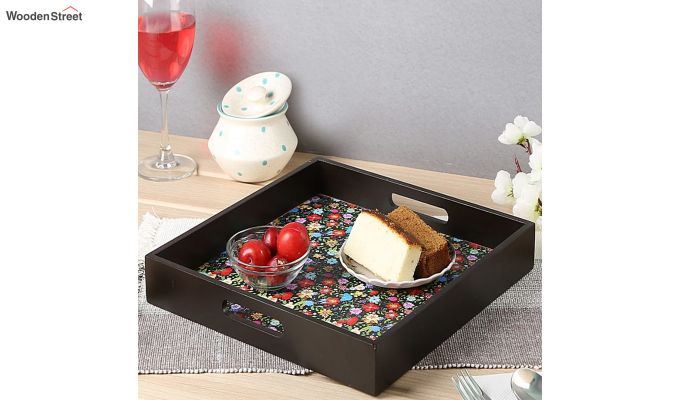 MDF Floral Pattern Large Square Serving Tray-1