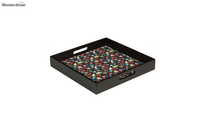 MDF Floral Pattern Large Square Serving Tray-2