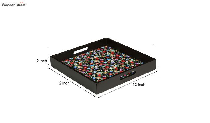 MDF Floral Pattern Large Square Serving Tray-4