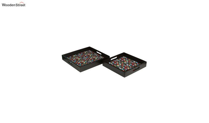 MDF Floral Pattern Square Serving Tray - Set of 2-2