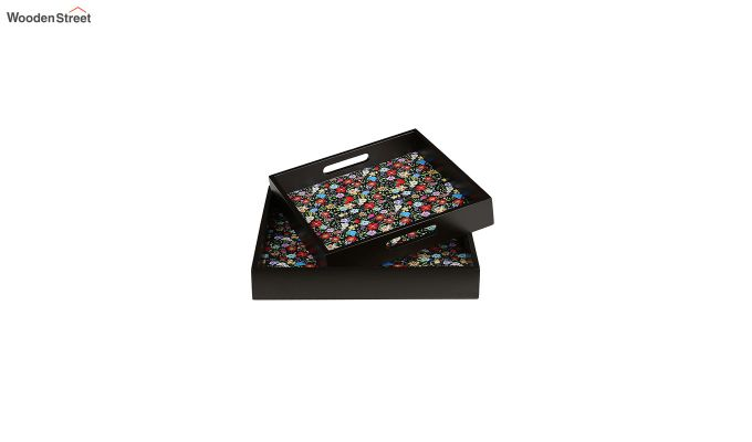 MDF Floral Pattern Square Serving Tray - Set of 2-3