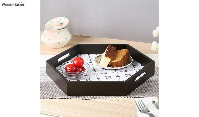 MDF Star Pattern Large Hexagon Serving Tray-1