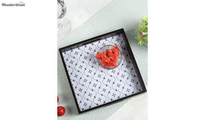 MDF Star Pattern Small Square Serving Tray-1